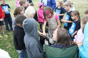 Teaching elementary students about agriuclture.  Photo Courtesy of: Kristy Sivils, Pierce City FFA Chapter- Missouri