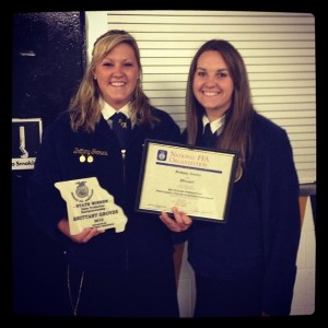 Brittany Groves, state proficiency winner in dairy with Stephanie Bos, State FFA Degree Recipient Photo Courtesy of: Stephanie Bos, Billings FFA Chapter- Missouri